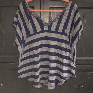 Grey/Blue Striped Double V-Neck, Raw Hem Top Sz M